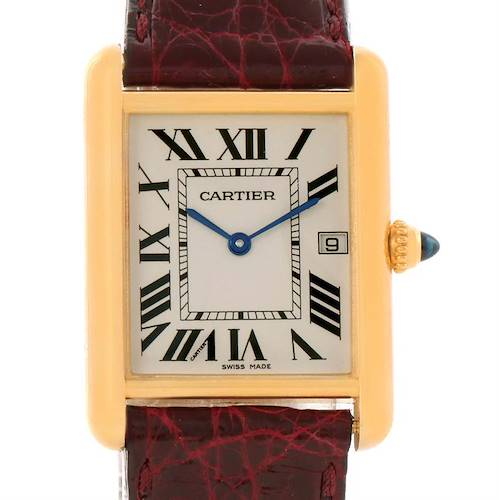 Photo of Cartier Tank Louis 18k Yellow Gold Burgundy Strap Date Watch W1529756