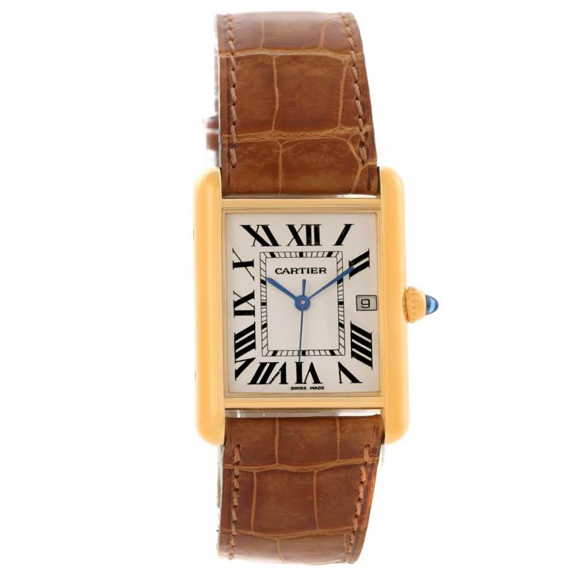 10354 Cartier Tank Louis 18k Yellow Gold Brown Strap Date Watch W1529756 SwissWatchExpo