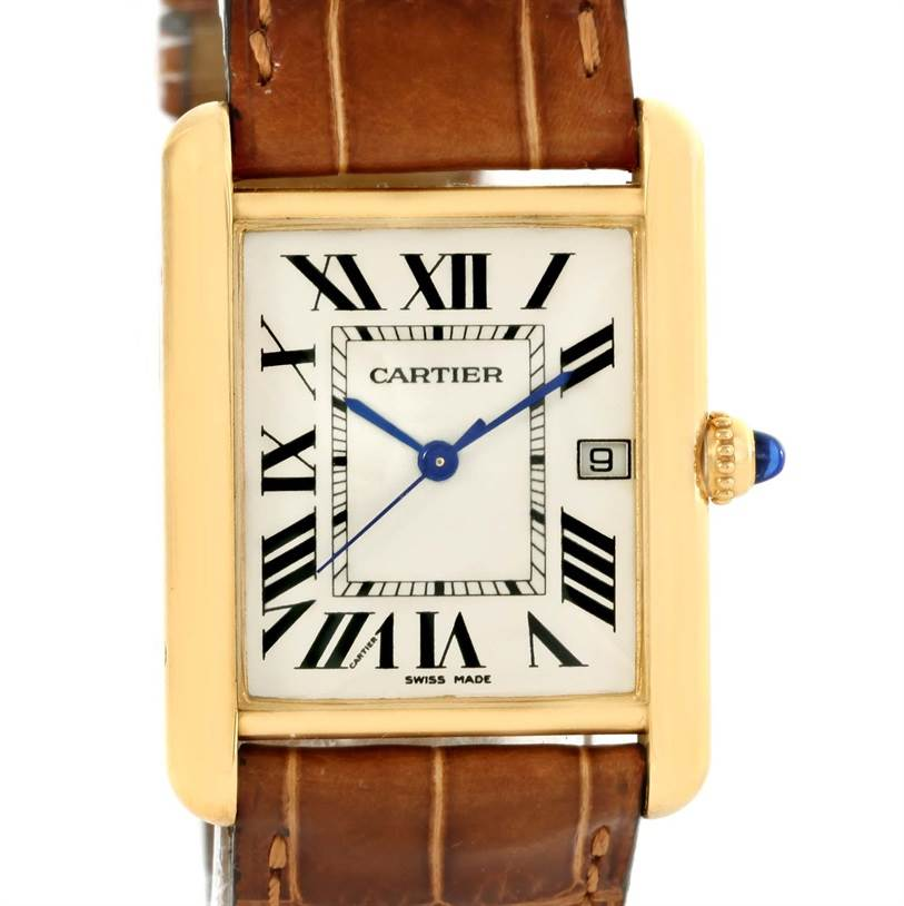 12452 Cartier Tank Louis 18k Yellow Gold Brown Strap Date Watch W1529756 SwissWatchExpo