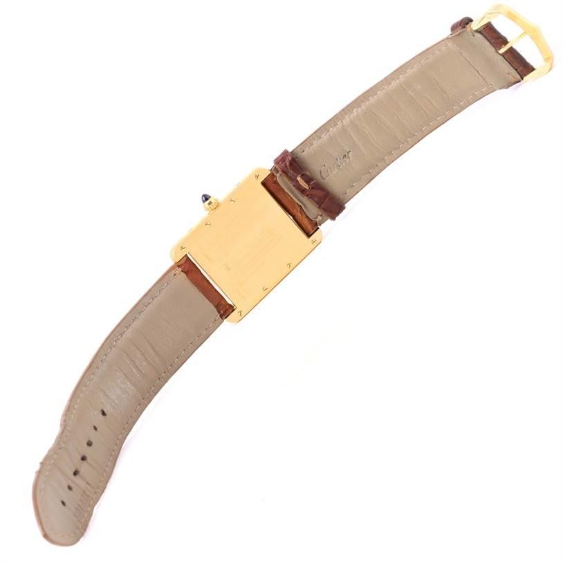 12593 Cartier Tank Louis 18k Yellow Gold Brown Strap Quartz Watch W1529756 SwissWatchExpo