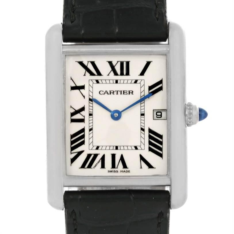 12629 Cartier Tank Louis Mens 18k White Gold Date Watch W1540956 SwissWatchExpo