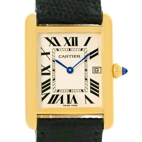 Photo of Cartier Tank Louis 18k Yellow Gold Black Strap Quartz Watch W1529756