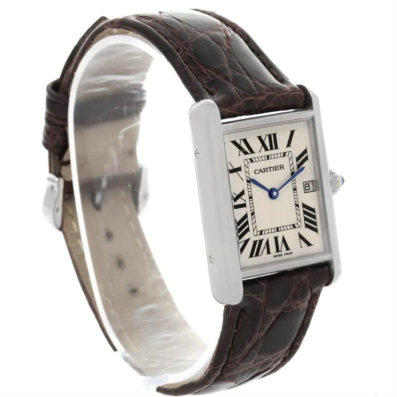 13013 Cartier Tank Louis Mens 18k White Gold Date Watch W1540956 SwissWatchExpo