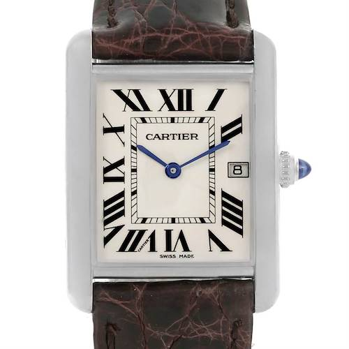 Photo of Cartier Tank Louis Mens 18k White Gold Date Watch W1540956