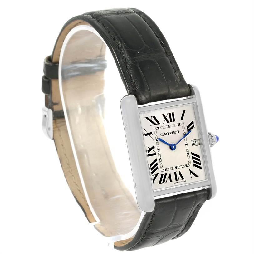 13012 Cartier Tank Louis Mens 18k White Gold Black Strap Watch W1540956 SwissWatchExpo