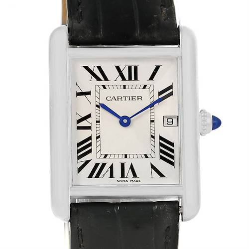 Photo of Cartier Tank Louis Mens 18k White Gold Black Strap Watch W1540956