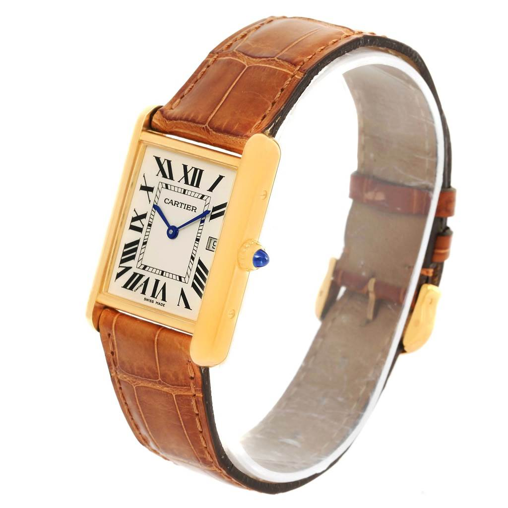 14452 Cartier Tank Louis 18k Yellow Gold Brown Strap Date Watch W1529756 SwissWatchExpo