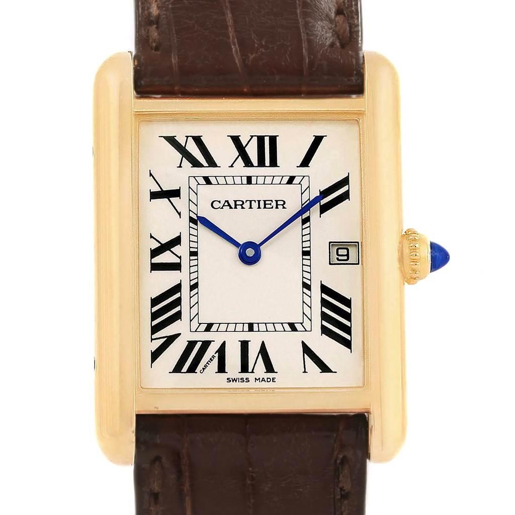 ... 18961 Cartier Tank Louis Large 18k Yellow Gold Brown Strap Watch  W1529756 SwissWatchExpo ...