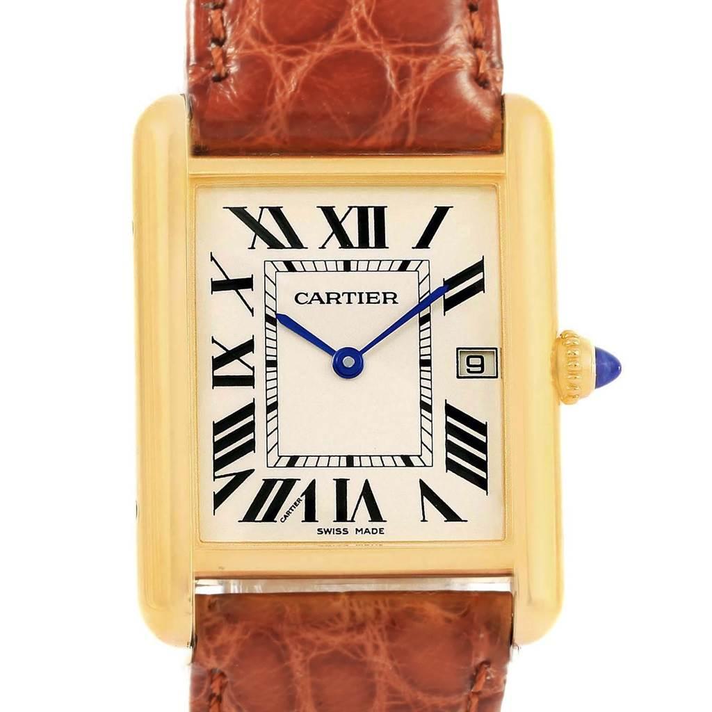 20696 Cartier Tank Louis 18k Yellow Gold Brown Strap Quartz Watch W1529756 SwissWatchExpo