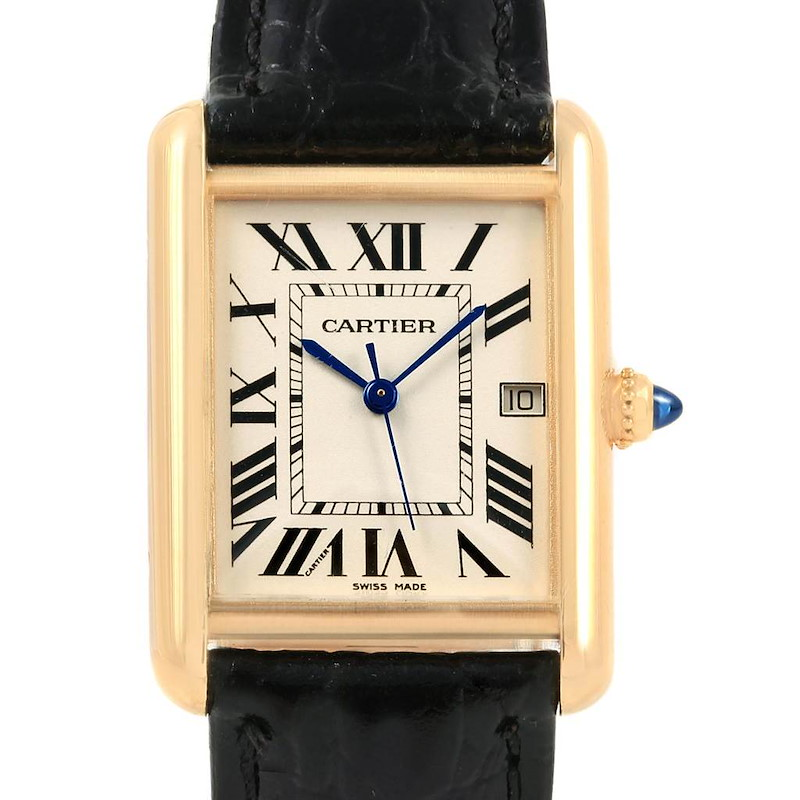 Cartier Tank Louis 18k Yellow Gold Black Strap Watch W1529756 SwissWatchExpo