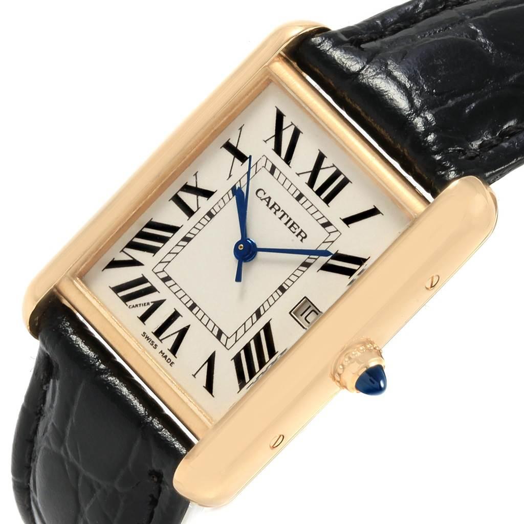 20940 Cartier Tank Louis 18k Yellow Gold Black Strap Watch W1529756 SwissWatchExpo