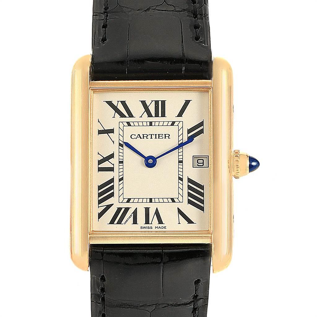 22183 Cartier Tank Louis 18k Yellow Gold Black Strap Watch W1529756 SwissWatchExpo