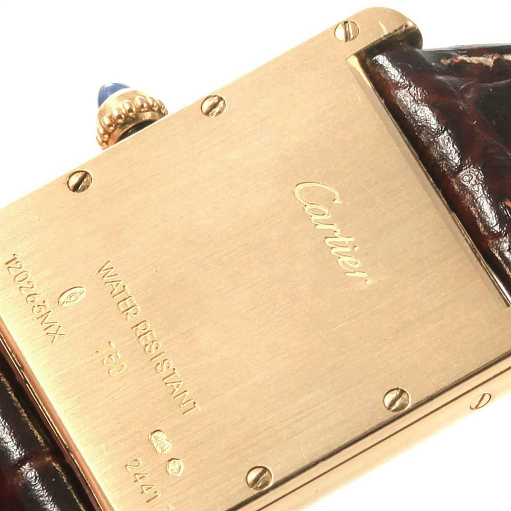 22469 Cartier Tank Louis 18k Yellow Gold Brown Strap Watch W1529756 SwissWatchExpo