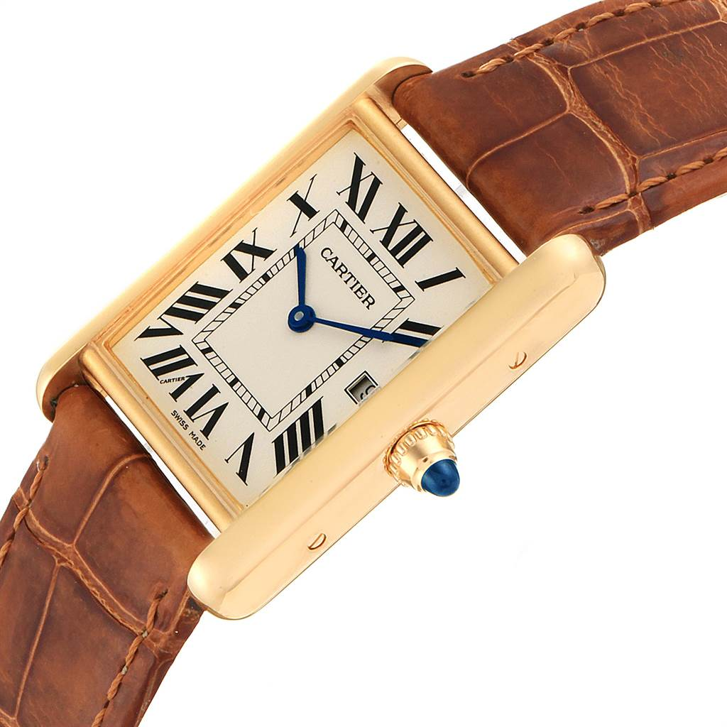 23092 Cartier Tank Louis Yellow Gold Brown Strap Watch W1529756 Box Papers SwissWatchExpo