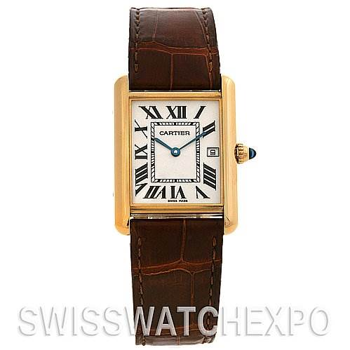 2540 Cartier Tank Louis Mens 18k y Gold Date Watch W1529756 SwissWatchExpo