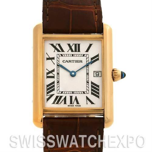 Photo of Cartier Tank Louis Mens 18k y Gold Date Watch W1529756