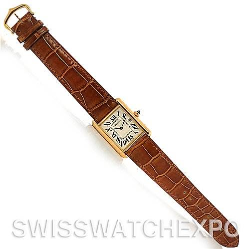2636 Cartier  Tank Louis mens 18k y gold date watch W1529756  SwissWatchExpo