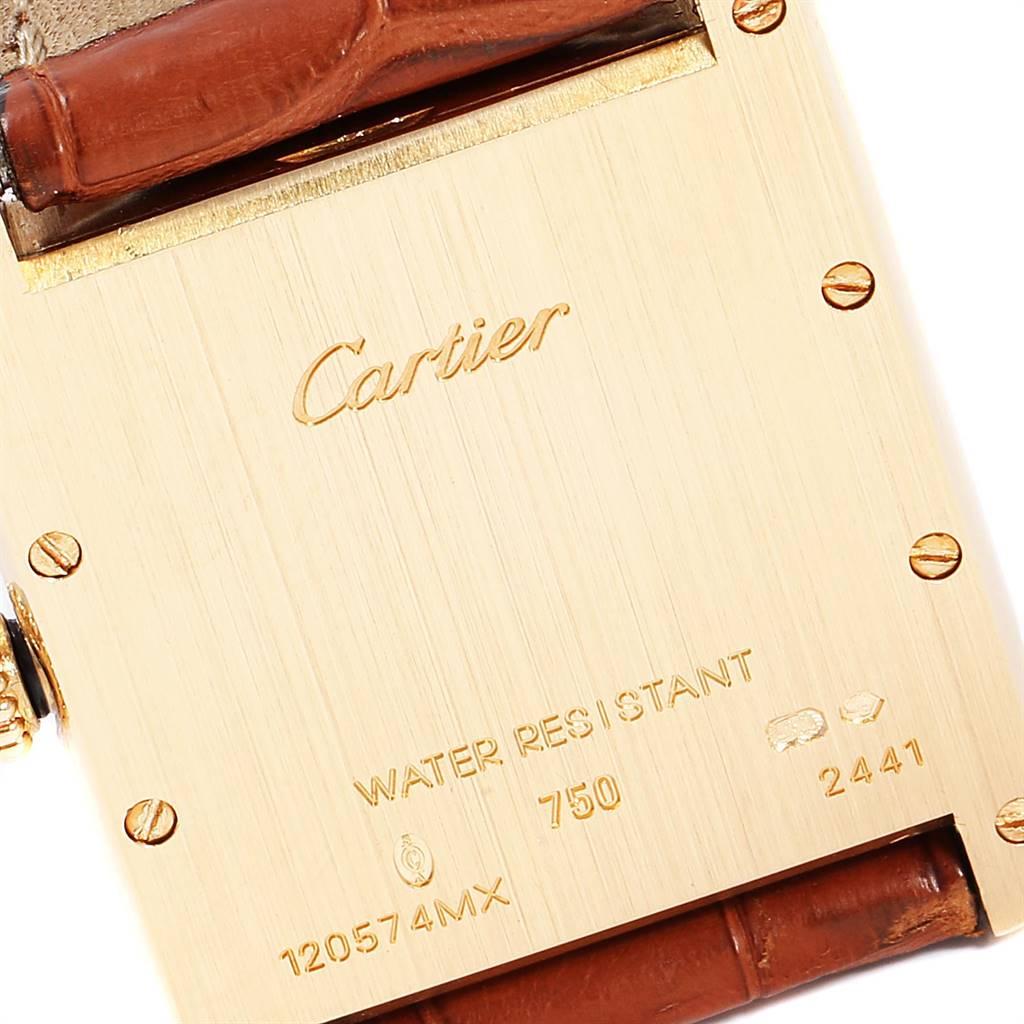 Cartier Tank Louis 18k Yellow Gold Brown Strap Mens Watch W1529756 SwissWatchExpo