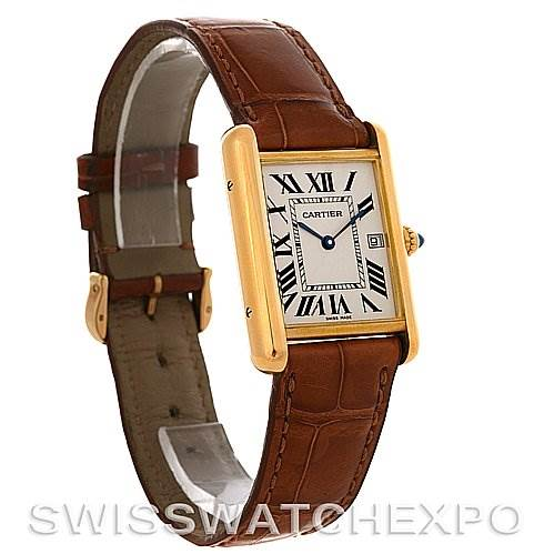 2880 Cartier  Tank Louis mens 18k y gold date watch W1529756 SwissWatchExpo