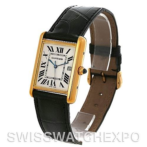 3018 Cartier Tank Louis mens 18k y gold date watch W1529756 SwissWatchExpo