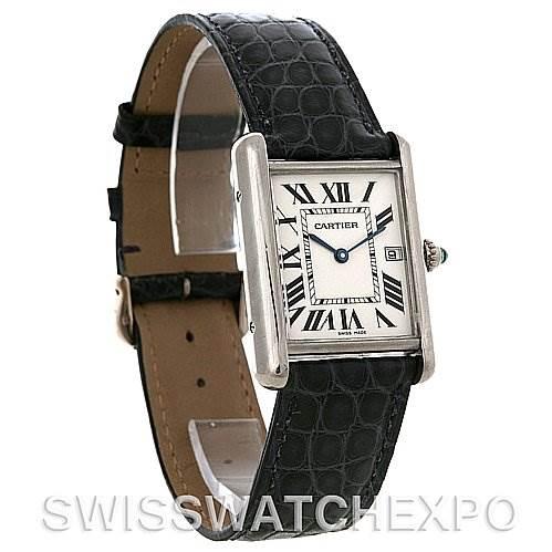 4056 Cartier Tank Louis mens 18k white gold date watch W1540956 SwissWatchExpo