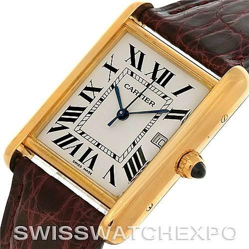 4096 Cartier Tank Louis Mens 18k Yellow Gold Date Watch W1529756 SwissWatchExpo
