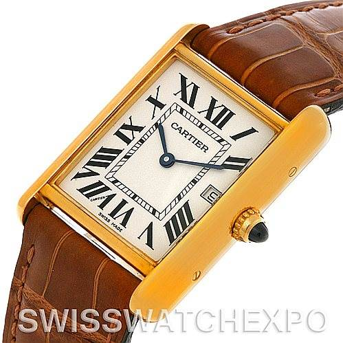 4389 Cartier Tank Louis Mens 18k Yellow Gold Date Watch W1529756 SwissWatchExpo
