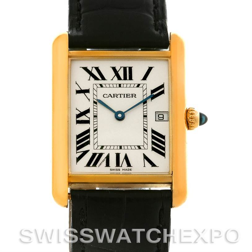 4427 Cartier Tank Louis Mens 18k Yellow Gold Date Watch W1529756 SwissWatchExpo