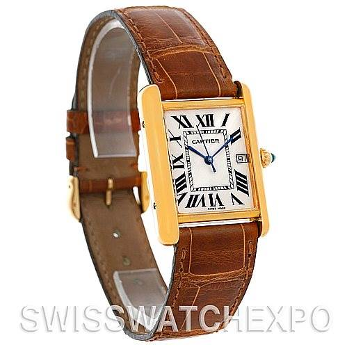 4810 Cartier Tank Louis Mens 18k Yellow Gold Date Watch W1529756 SwissWatchExpo