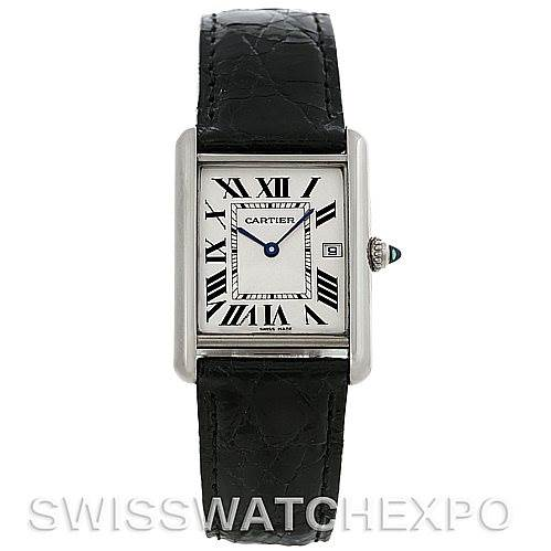 4623 Cartier Tank Louis Mens 18k White Gold Date Watch W1540956 SwissWatchExpo
