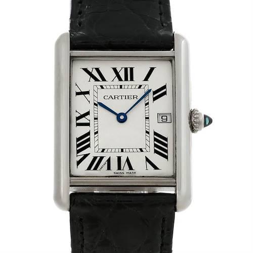Photo of Cartier Tank Louis Mens 18k White Gold Date Watch W1540956