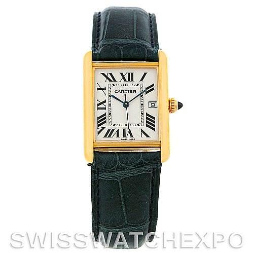 5045 Cartier Tank Louis Mens 18k Yellow Gold Watch W1529756 SwissWatchExpo