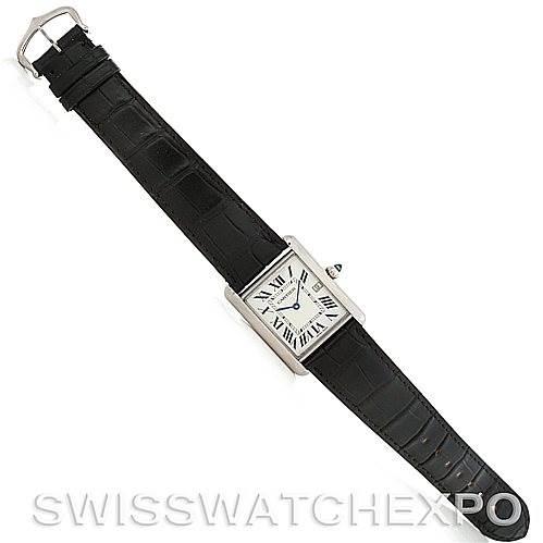 5170 Cartier Tank Louis Mens 18k White Gold Date Watch W1540956 SwissWatchExpo