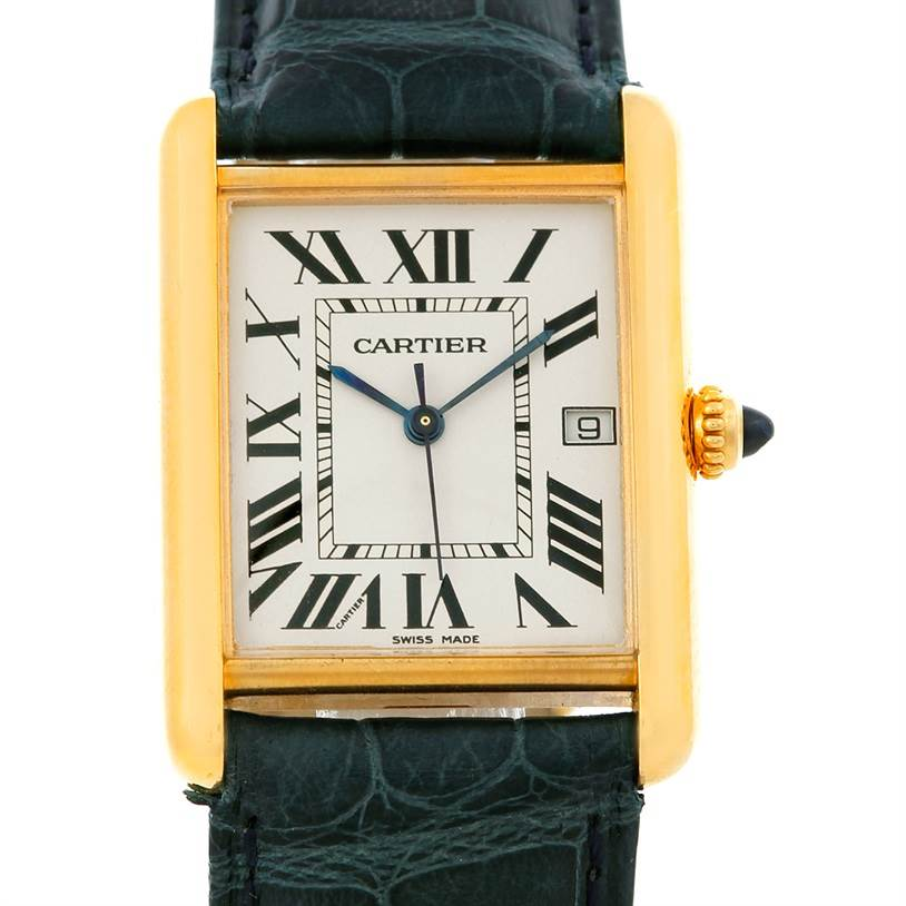 5045 Cartier Tank Louis Mens 18k Yellow Gold Watch W1529756 SwissWatchExpo