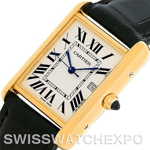 5571 Cartier Tank Louis Mens 18k Yellow Gold Watch W1529756 SwissWatchExpo