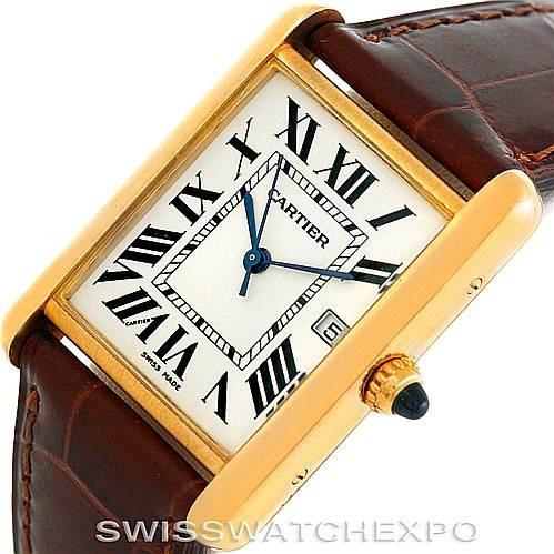 6128 Cartier Tank Louis Mens 18k Yellow Gold Watch W1529756 SwissWatchExpo