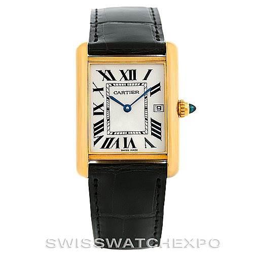 6299 Cartier Tank Louis Mens 18k Yellow Gold Watch W1529756 SwissWatchExpo