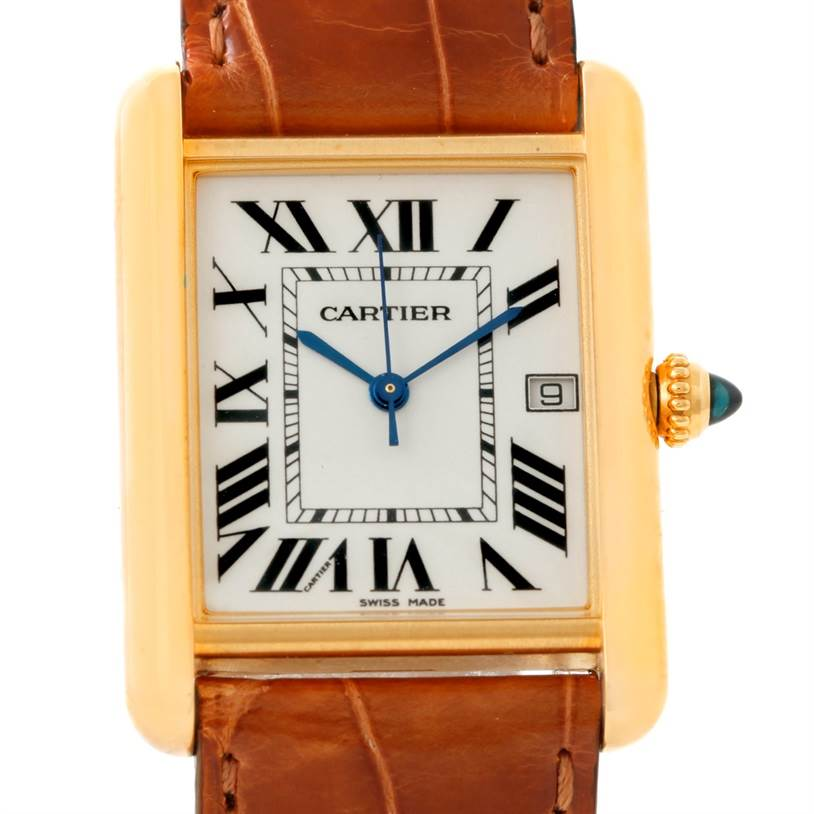 WC532 Cartier Mens 18kt Yellow Gold Tank Louis Model W1529756 SwissWatchExpo