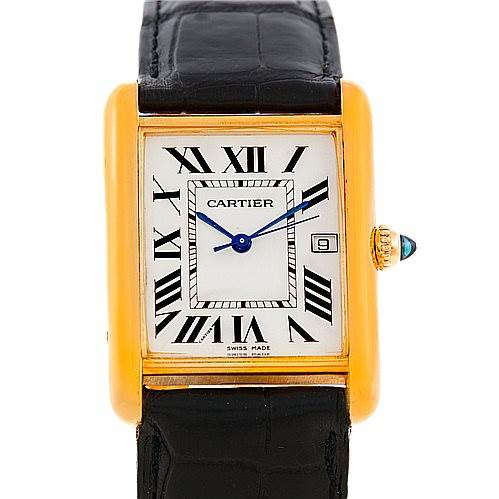 6612 Cartier Tank Louis Mens 18k Yellow Gold Watch W1529756 SwissWatchExpo