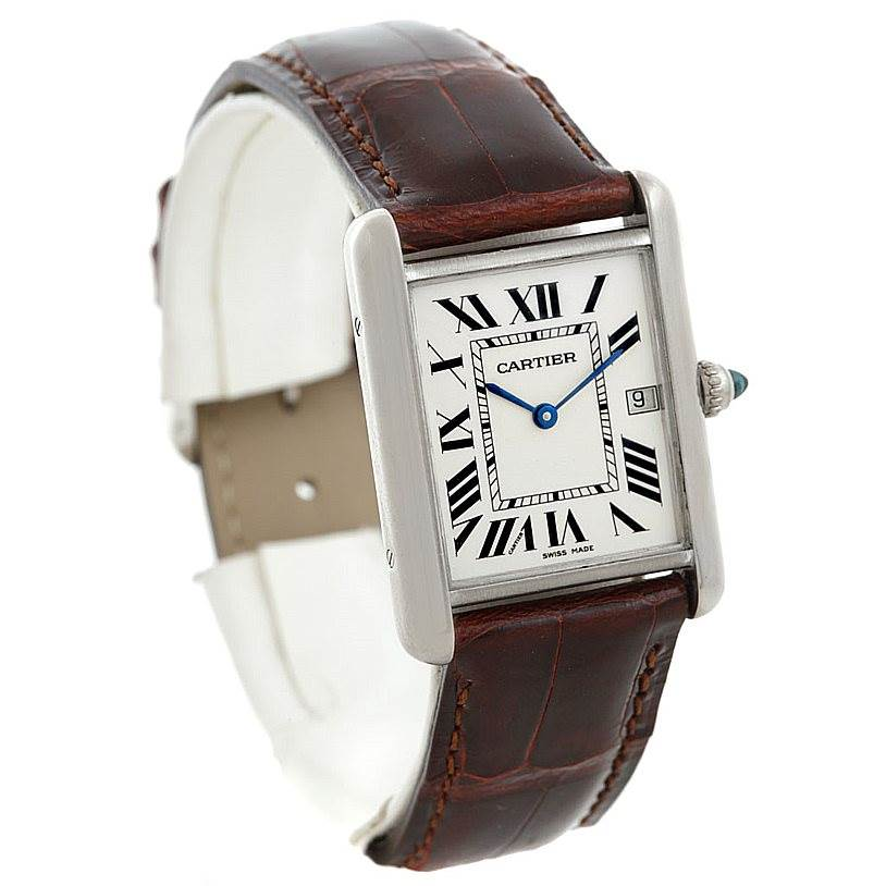 6395 Cartier Tank Louis Mens 18k White Gold Date Watch W1540956 SwissWatchExpo
