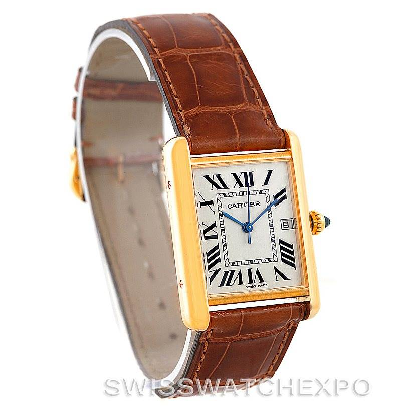 7229 Cartier Tank Louis Mens 18k Yellow Gold Watch W1529756 SwissWatchExpo