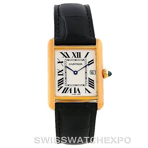 7050 Cartier Tank Louis Mens 18k Yellow Gold Watch W1529756 SwissWatchExpo