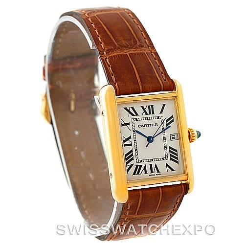 7746 Cartier Tank Louis Mens 18k Yellow Gold Watch W1529756 SwissWatchExpo