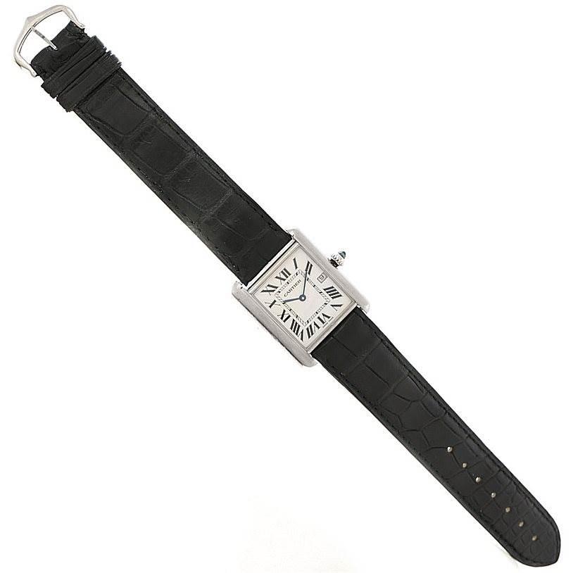 7909 Cartier Tank Louis Mens 18k White Gold Date Watch W1540956 SwissWatchExpo