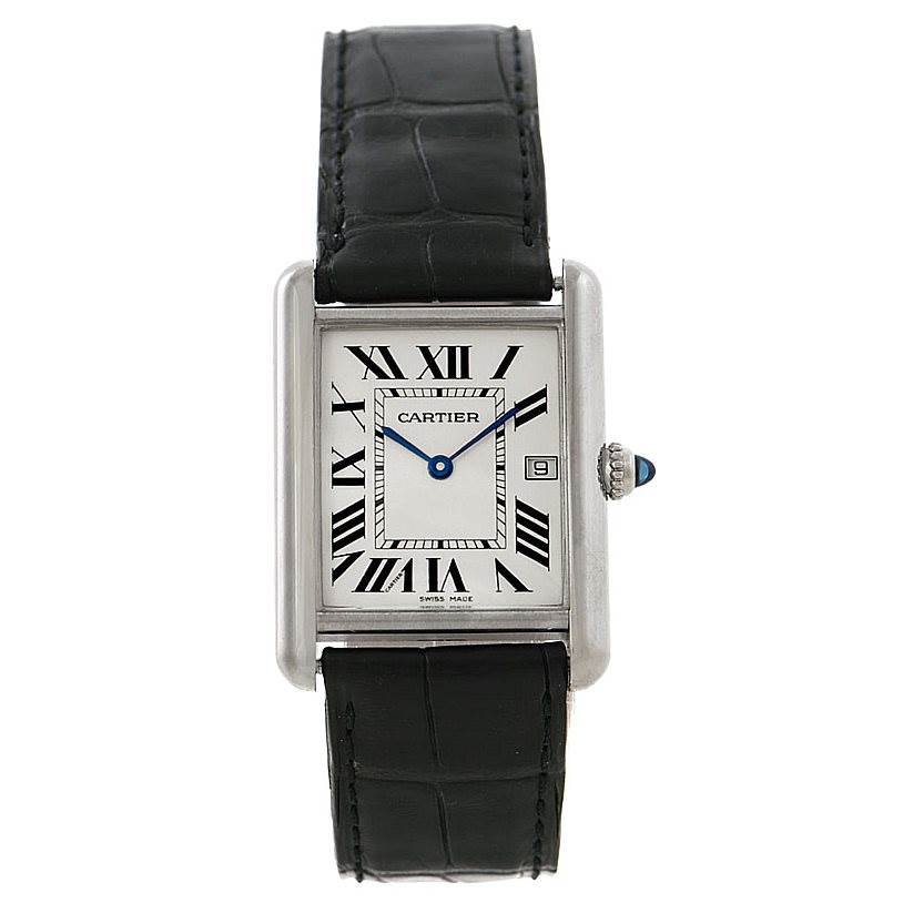 7909 Cartier Tank Louis Mens 18k White Gold Date Watch W1540956 SwissWatchExpo