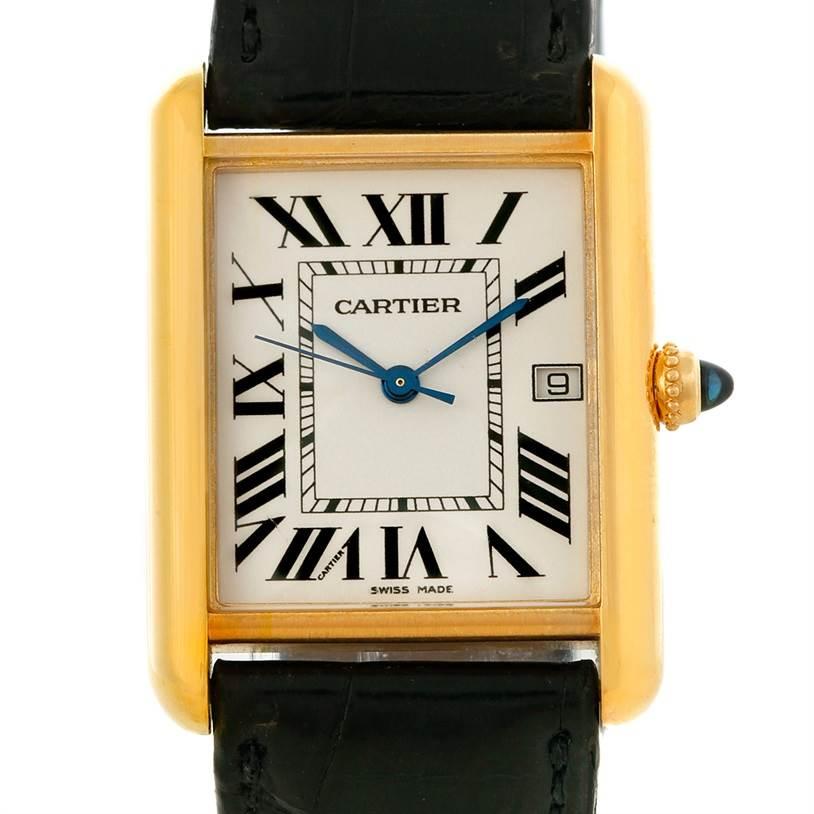 8390 Cartier Tank Louis Mens 18k Yellow Gold Watch W1529756 SwissWatchExpo