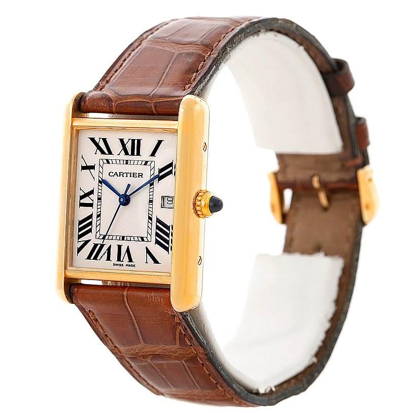 8352 Cartier Tank Louis Mens 18k Yellow Gold Watch W1529756 SwissWatchExpo