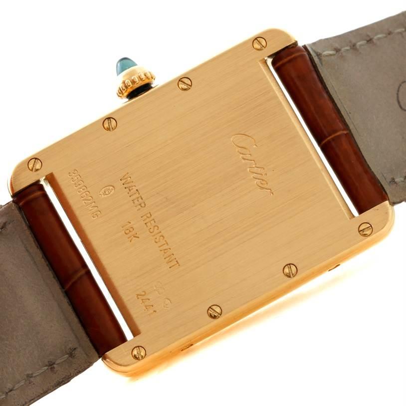 8654 Cartier Tank Louis Mens 18k Yellow Gold Watch W1529756  SwissWatchExpo