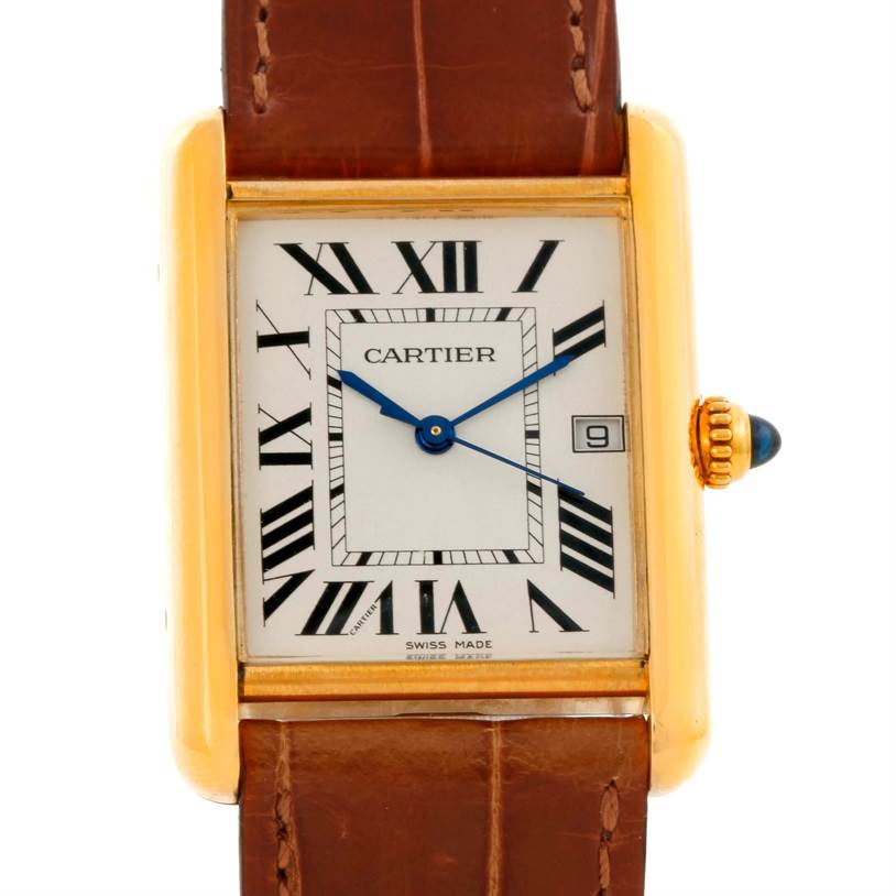 9599 Cartier Tank Louis Large 18k Yellow Gold Date Watch W1529756 SwissWatchExpo