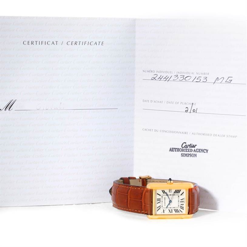 9728 Cartier Tank Louis Large 18k Yellow Gold Watch W1529756 SwissWatchExpo